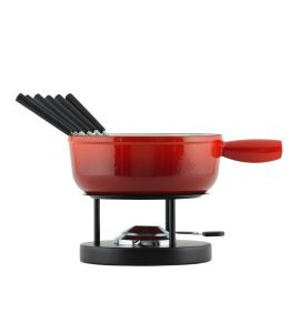 Cheese Fondue Set induction cast iron red 24cm